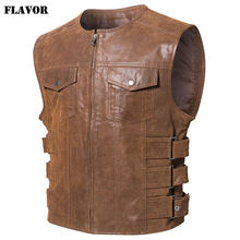 FLAVOR New Men's Real Leather Motorcycle Vest(China)