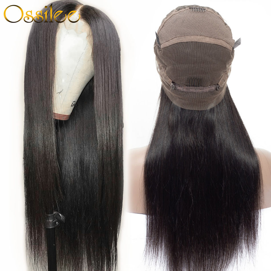 Wigs Human-Hair Straight Full-Lace Brazilian with Pre-Plucked Remy