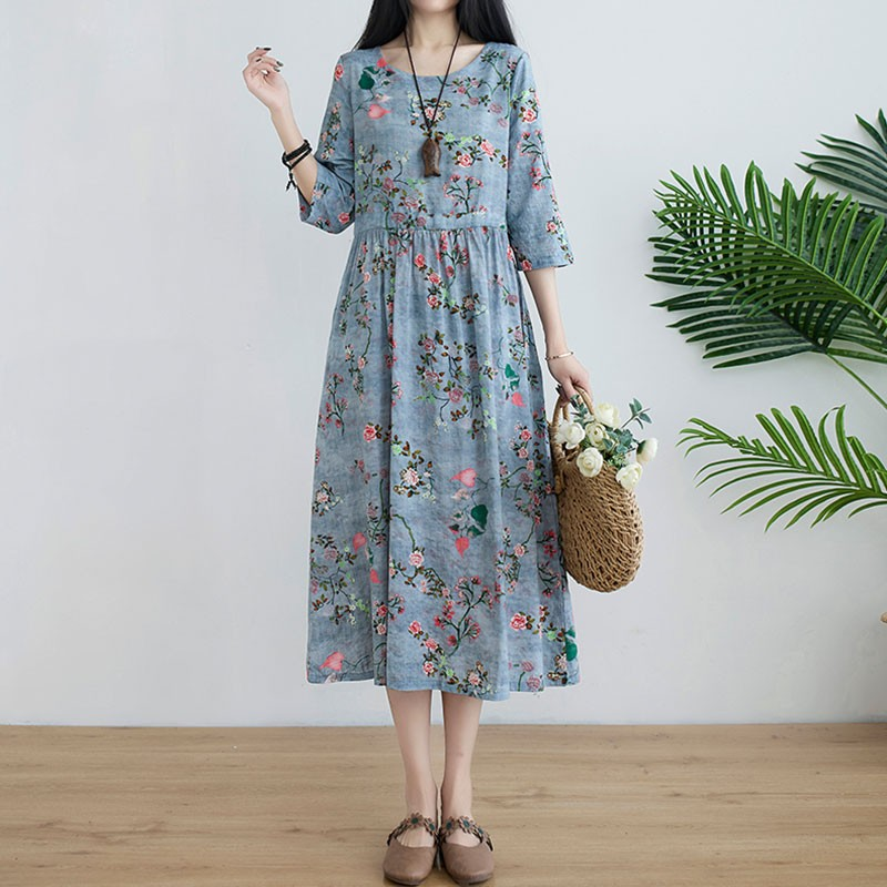 Women Summer Casual Dress New Arrival 2021 Vintage Style Floral Print Loose Comfortable Cotton Ladies A-line Long Dresses S3898