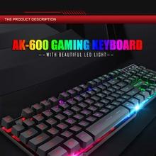 цены Teclado Klavye Gamer Ak-600 Pc Gaming Keyboard Wired Mechanical Feeling Glowing 104 Keycaps Keycap Metal Panel Backlit Usb