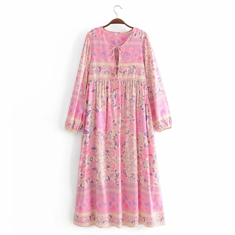 Женское платье с длинным рукавом и цветочным принтом в стиле