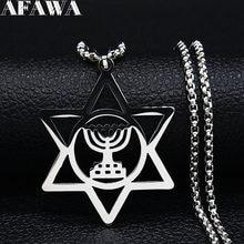 Nostalji dini Menorah yıldızı David yahudi Magen Judaica İbranice İsrail İnanç lamba Hanukkah paslanmaz çelik kolye N1230S02
