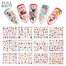 12 Buah Warna-warni Musim Dingin Natal Slider Stiker Kuku Nail Art Sticker DIY Air Tato Manikur Wraps Aksesori CHBN1009-1020(China)