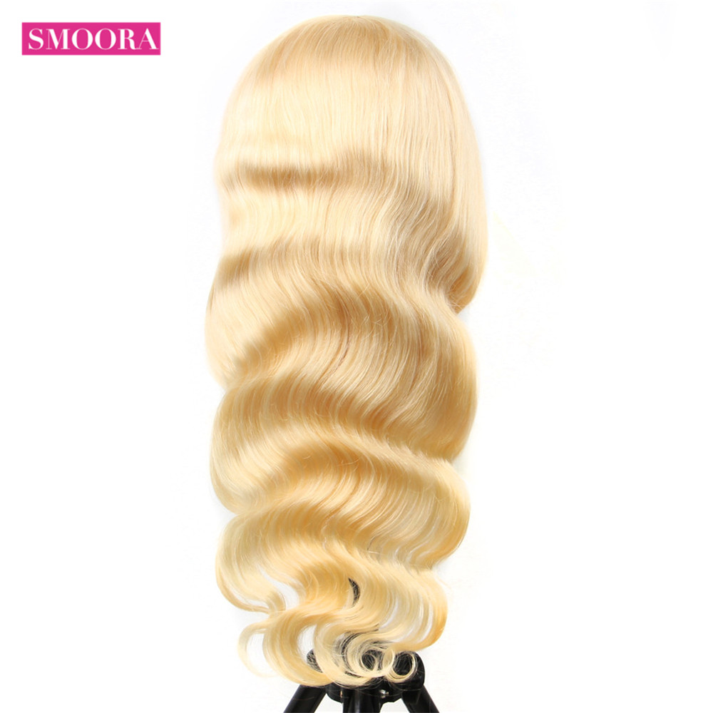 13x4 Lace Front Wig 613 Honey Blonde 30inch Lace Frontal  Hair Body Wave   Wig Baby Hair Transparent 4