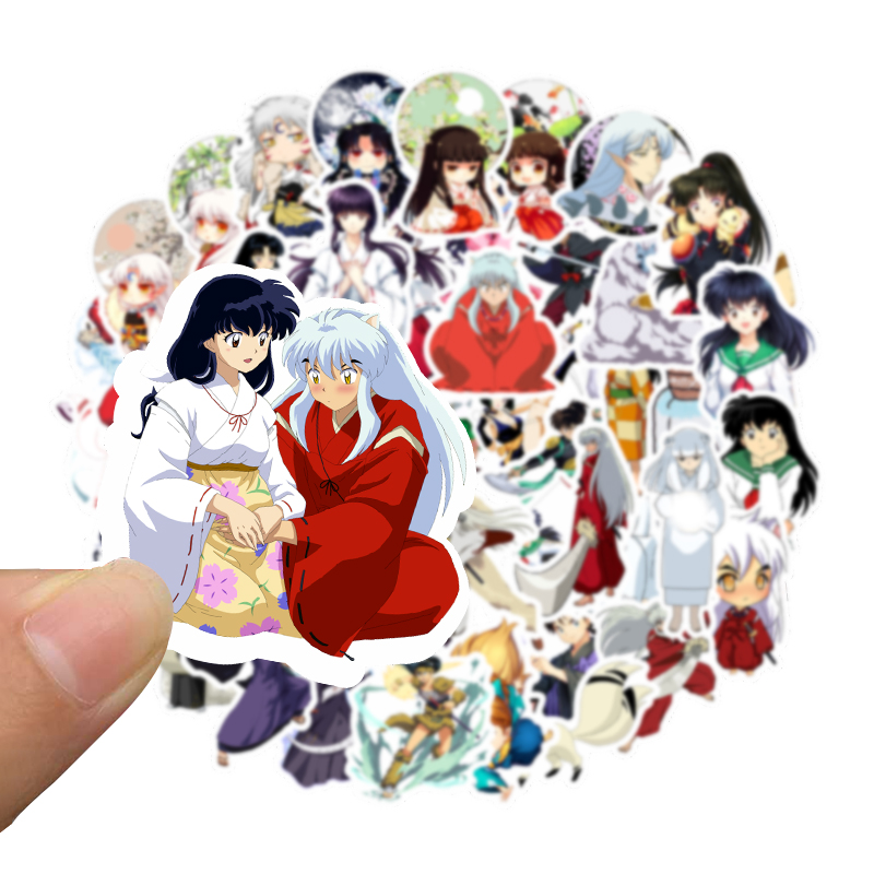 50pcs Cartoon Anime Inuyasha Stickers Waterproof Cute Decal Sticker For Suitcase Laptop Guitar Skateboard Car Toy