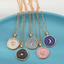 SMJEL Harajuku Sweet Cute Moon Star Heart Enamel Necklace Fashion Round Heart Thunder Lightning Necklaces Women Simple Jewelry