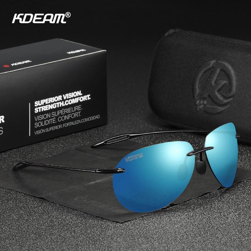 KDEAM Luxury Pilot Sunglasses Men Polarized TR90 Glasses Temples Ultra-light Eyewear Goggles UV400 Oculos De Sol