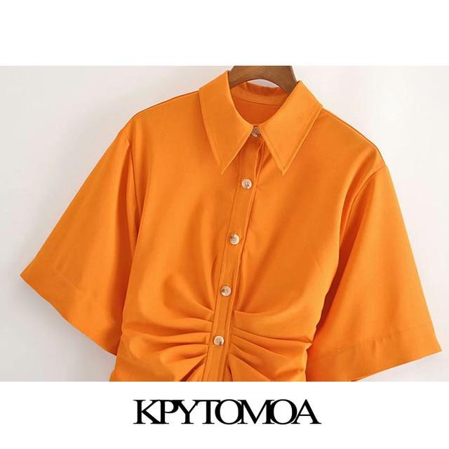 KPYTOMOA Women 2020 Chic Fashion Button-up Draped Midi Shirt Dress Vintage Short Sleeve Side Zipper Female Dresses Vestidos 3