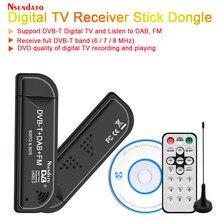 USB2.0 DAB FM radyo DVB-T RTL2832U R820T2 RTL SDR TV çubuk mini PC Dongle dijital USB TV HDTV Tuner alıcı IR uzaktan ile anten