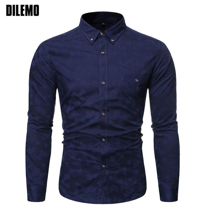 2019 Fall New 100% Cotton Fashion Brand Shirts Mens Button Down Slim Fit Streetwear Long Sleeve Dress Shirts Casual Men Clothes