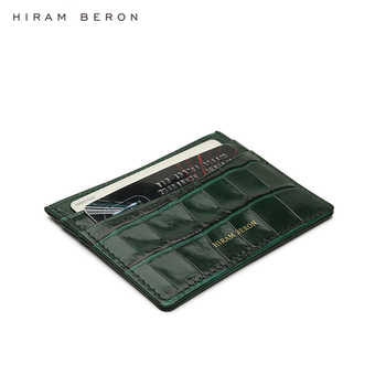Hiram Beron Personalized FREE green leather card wallet case with case for iphone 11 Pro Max embossed crocodile pattern