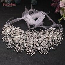YouLaPan Rhinestone Belt Bridal Jeweled Belt for Formal Dress Sliver Diamond Belt Alloy Flower Crystal Beaded Belts SH240
