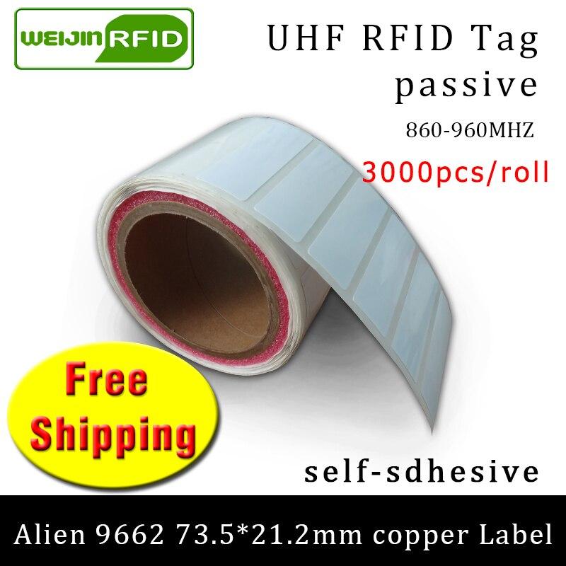 UHF RFID Tag Sticker Alien 9662 EPC6C Printable Copper Label 915m868mhz Higgs3 3000pcs Free Shipping Adhesive Passive RFID Label
