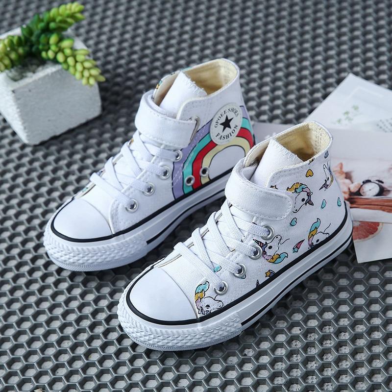 Холщовые детские туфли, Мультяшные граффити, детские кроссовки, радужная повседневная обувь для девочек, удобные детские теннисные кроссовки на плоской подошве|Кроссовки| | АлиЭкспресс