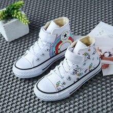 Chaussures en toile confortable avec dessin animé pour enfant,baskets plates et décontractées avec motif graffiti et arc-en-ciel, pour fille,