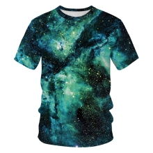Green Starry Sky 3D Print T-shirt For Men Women Summer Hip-hop Casual Clothes Short Sleeve Crewneck Nebula Pattern Loose Tops stylish short sleeve letter pattern starry sky print dress for women