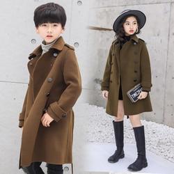 2020 Teenager Boys Girls Woolen Coat/jacket Toddler Kids Outerwear Children Winter Wool Woolen/trench Coat Teen Outfits 10 12 14