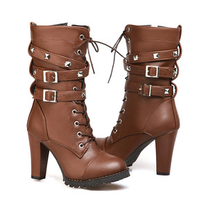 Image 3 - MORAZORA 2020 new arrival women ankle boots round toe high heels shoes zip lace up rivet autumn winter boots female big size 48