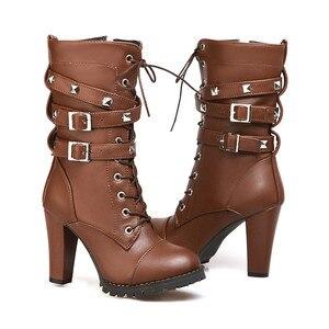 Image 3 - Morazora 2020 nova chegada botas de tornozelo feminino dedo do pé redondo sapatos de salto alto zip rendas até rebite outono botas de inverno feminino tamanho grande 48