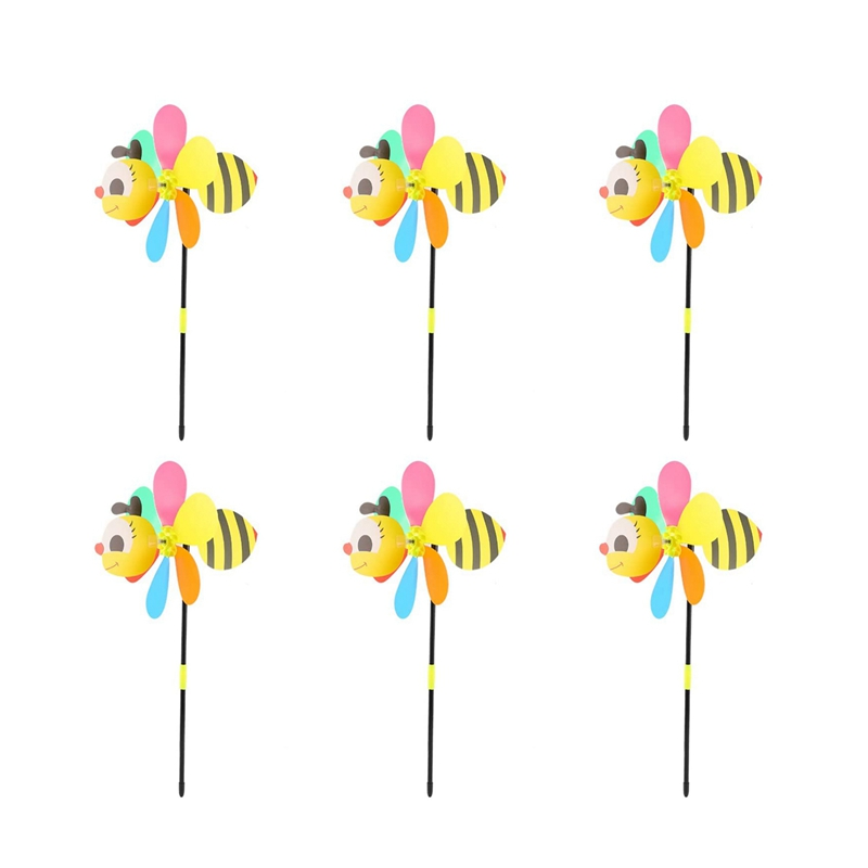 6Pcs Bee Wind Spinners Pinwheels 3D Animal Windmills Garden Stakes Ornaments for Lawn Yard Patio Party Decor