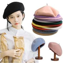 French Hat Fashion Beret Women Felt British Style Girls Wool Lady Solid Color Slouchy Winter Berets For
