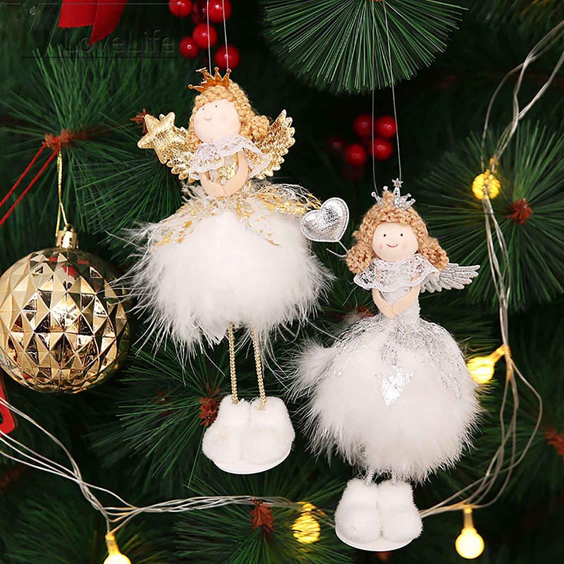 Christmas Tree Hanging Ornaments,Linen Santa Claus Angel Pendant Doll Decoration Xmas Decorations Decorative Craft Accessories Supplies for Child Family Gift Holiday Decor