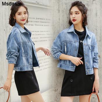 Women Jeans Coats Denim Jacket Short Jean Coat Girl'S Korean-style Loose-Fit 2020 Spring Autumn Cool College Style Tops Jackets 1