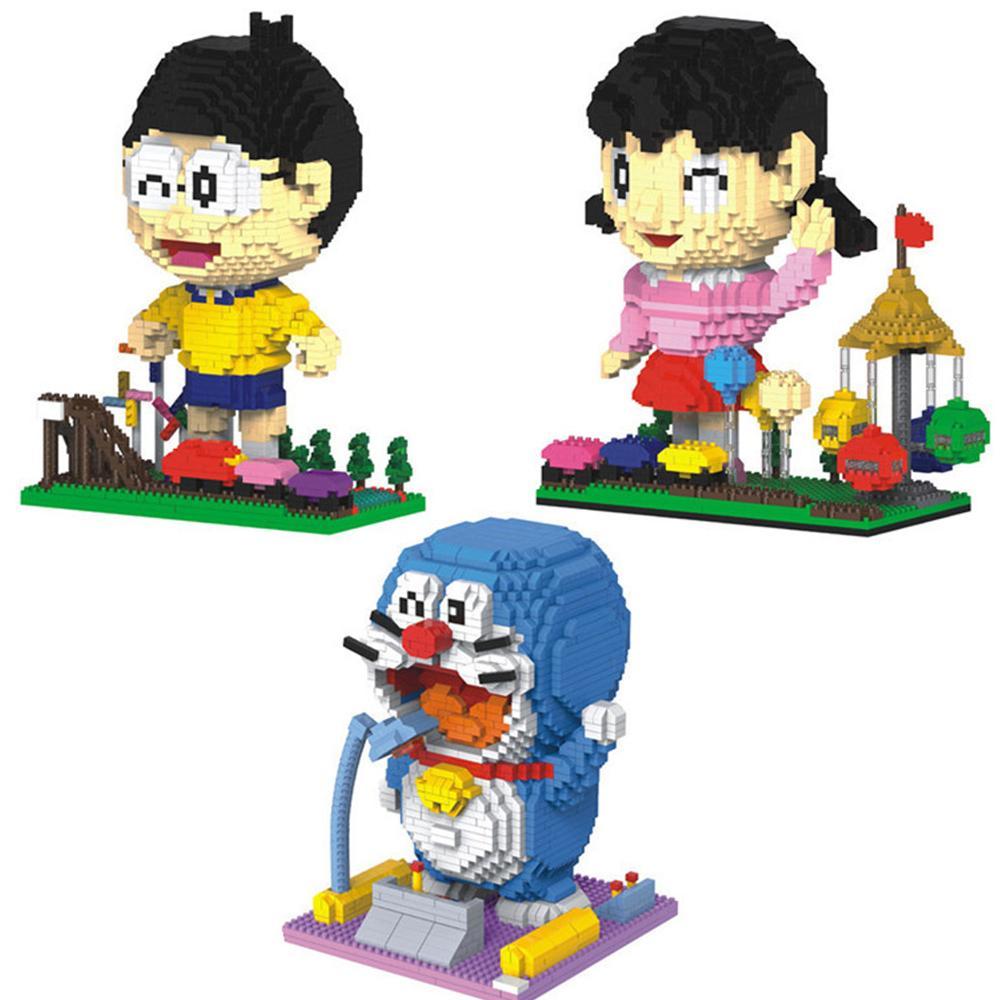 hot LegoINGlys creators classic Japan Anime Doraemon Nobita Nobi Minamoto Shizuka model mini micro diamond blocks toys for gift