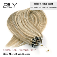 BILY Straight Ombre  Loop Micro Ring Links Hair Mixed Color Micro Bead Machine Remy Hair Extensions 100% Human Indian Hair 20