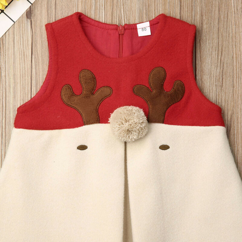 Toddler Kid Baby Girl Christmas Clothes Woolen Antlers Xmas Vest Holiday Costume