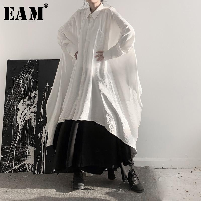 [EAM] Women Black Asymmetrical Big Size Blouse New Lapel Long Sleeve Loose Fit Shirt Fashion Tide Spring Autumn 2020 19A-a533