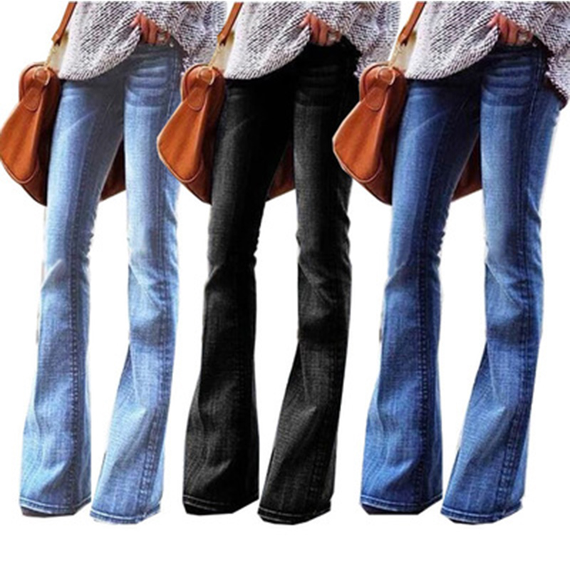 New 2020 Vintage High Waist Jeans Woman Flare Jeans For Women Black Skinny Denim Mom Jeans Plus Size 4XL Female Wide Leg Pants