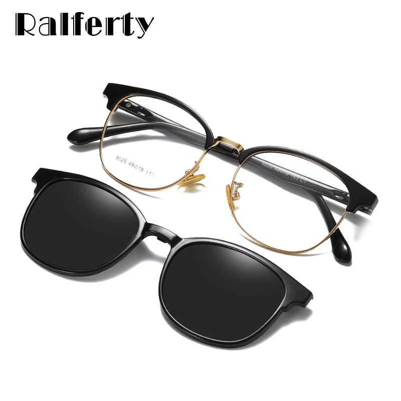 Ralferty Custom Prescription Sunglasses Women Magnet Sunshade Polarized Clip On Sun Glasses Eyeglasses Frame For Woman Z8025