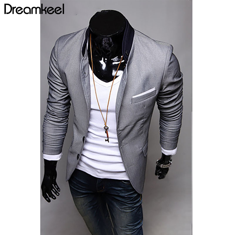 Clothing Suit Jacket-Size Skinny Slim Male Men's Fashion New Red Grey Black Cargo Large