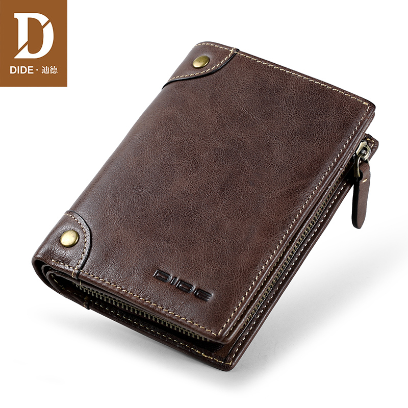 Купить с кэшбэком DIDE 2020 Top Men's Wallet Genuine Leather Short Wallet Male Luxury Brand Vintage Zipper Coin Purse Card Holder Dropshipping