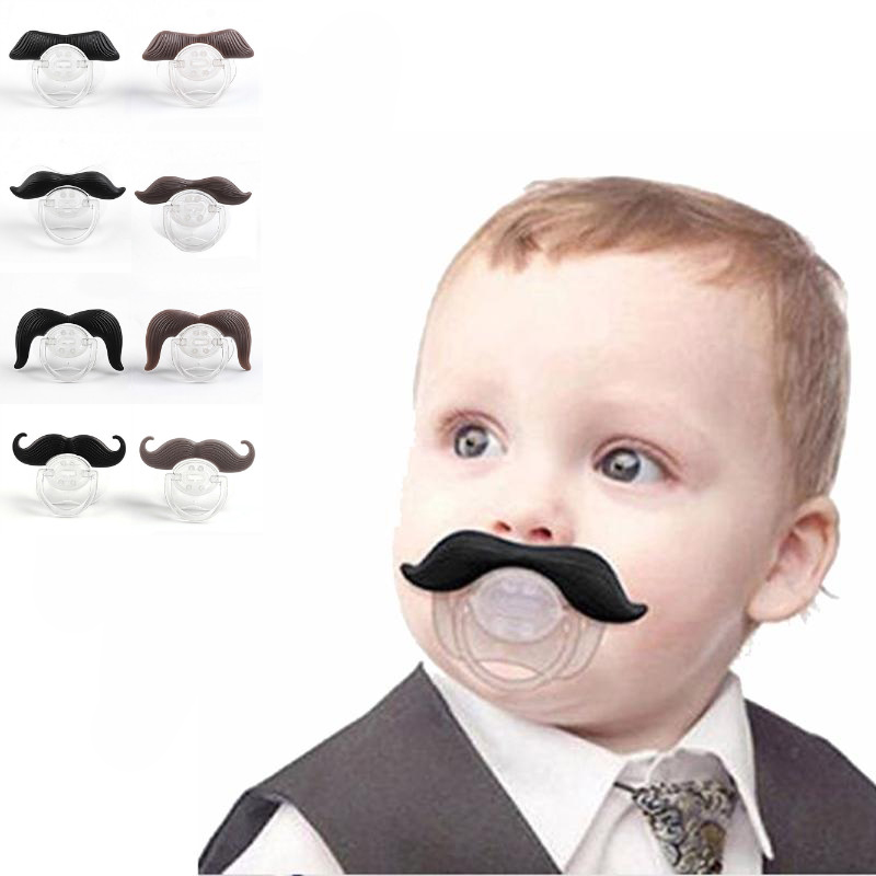 Silicone Spoof Pacifier Cute Funny Baby Dummy Nipple Beard Toddler Novelty Orthodontic Soothers Teat Moustache Teether Baby Gift