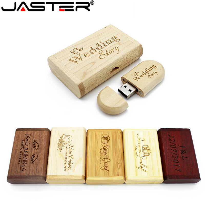 JASTER Free Personalized Customization Wooden USB Flash Drive PendrivesMaple Usb+box 4GB 8GB 16GB 32GB 64GB Memory Stick Gift