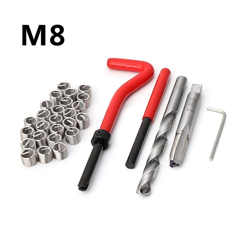 M8 Car Pro Coil Drill Tool Metric Thread Repair Insert 30pcs Kit For Helicoil Car Repair Tools Coarse Crowbar