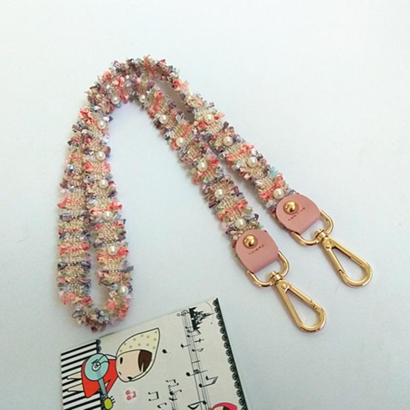Pearl Weave Belt Bags Gift Accessories For Women Pink Adjustable Shoulder Hanger Handbag Straps Decorative Handle Ornament