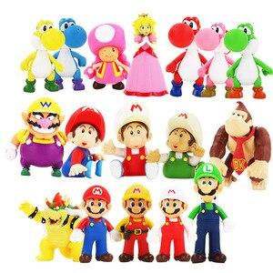 8-15cm Super Mario Bros Luigi Yoshi Koopa Mario Maker Odyssey Toadette DONKEY KONG PVC Action Anime Figures Toys Model Dolls Kid