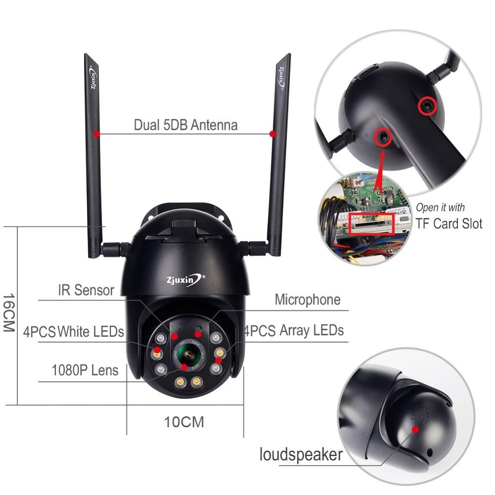 Zjuxin PTZ IP Camera WiFi HD1080P Wireless Wired PTZ Outdoor CCTV Security Camra Double light human Zjuxin PTZ IP Camera WiFi HD1080P Wireless Wired PTZ Outdoor CCTV Security Camra Double light human detection AI cloud camera
