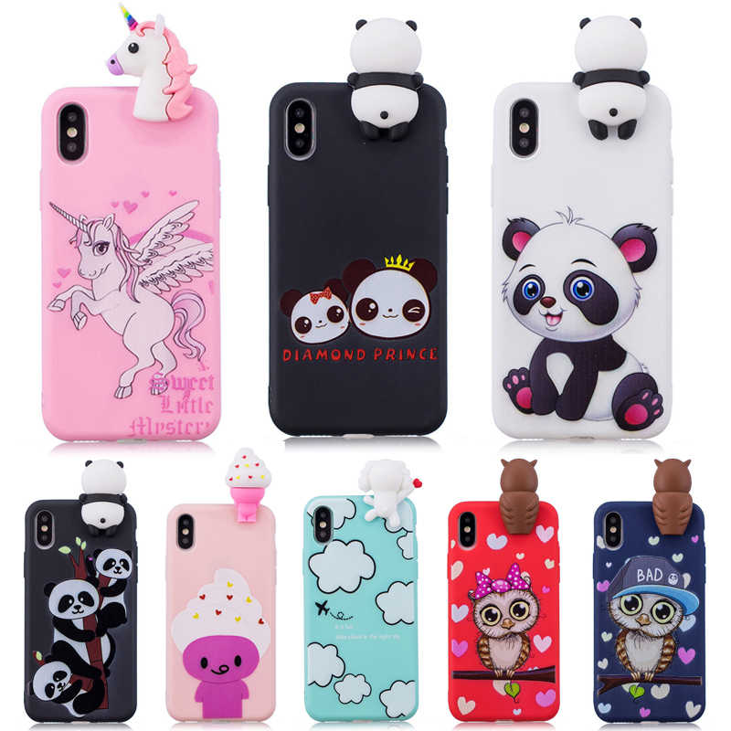 3D Soft Silicon TPU Case For iPhone 7 8 Plus Cute Panda Owl Unicorn Case For iPhone 11 Pro X XS Max XR 6 6S 7 8 Plus 5S SE Cover