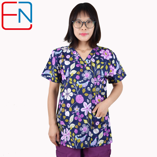 Hennar Women Scrub Top 100% Print Cotton  Uniforms V Neck Short Sleeve XXS 3XL Hospital Clinical scrubScrubs Top