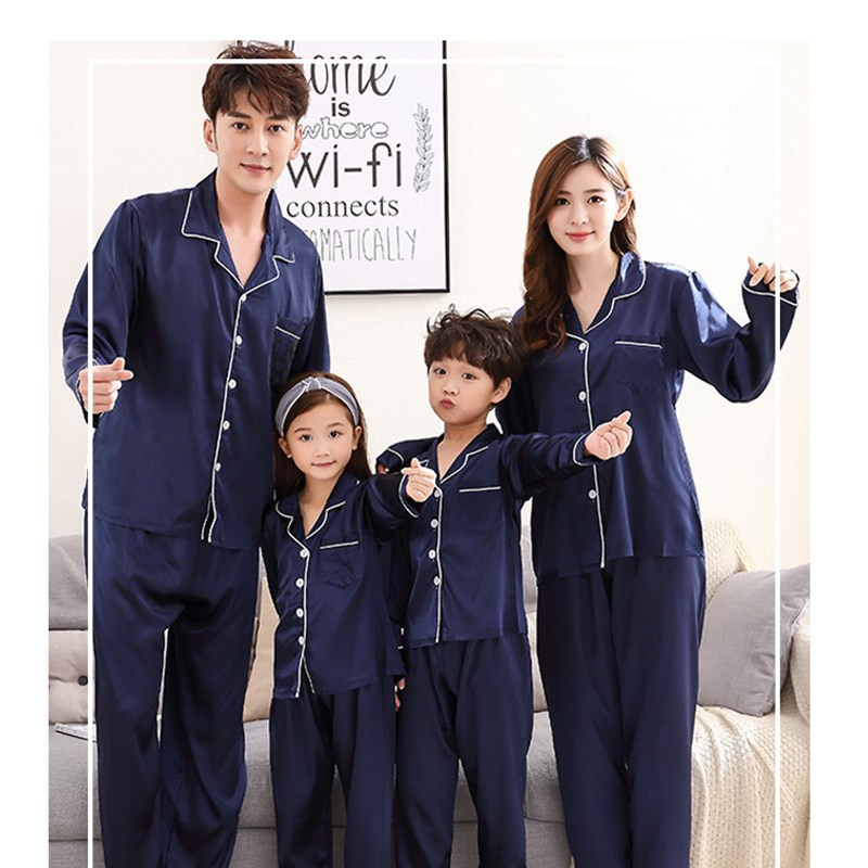 JULY'S SONG Family Pajamas Set Emulation Silk New Pyjamas Kids  Sleepwear Parent-child Pajamas Family Outfits Woman Pajamas