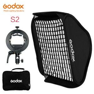 Image 1 - Godox S2 Speedlite Flash Halter Halterung + Softbox Honeycomb Grid mit Bowens Berg für Godox V1 TT685 V860II TT350 AD200 flash