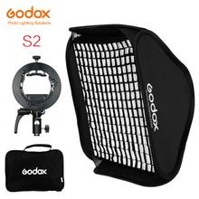 Godox S2 Speedlite Flash Holder Bracket + Softbox Honeycomb Grid with Bowens Mount for Godox V1 TT685 V860II TT350 AD200 Flash