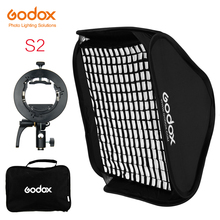 Godox S2 Speedlite flaş tutucu braketi + Softbox petek izgara Bowens dağı ile Godox V1 TT685 V860II TT350 AD200 flash