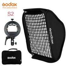 Godox s2 speedlite flash suporte + softbox favo de mel grade com bowens montagem para godox v1 tt685 v860ii tt350 ad200 flash