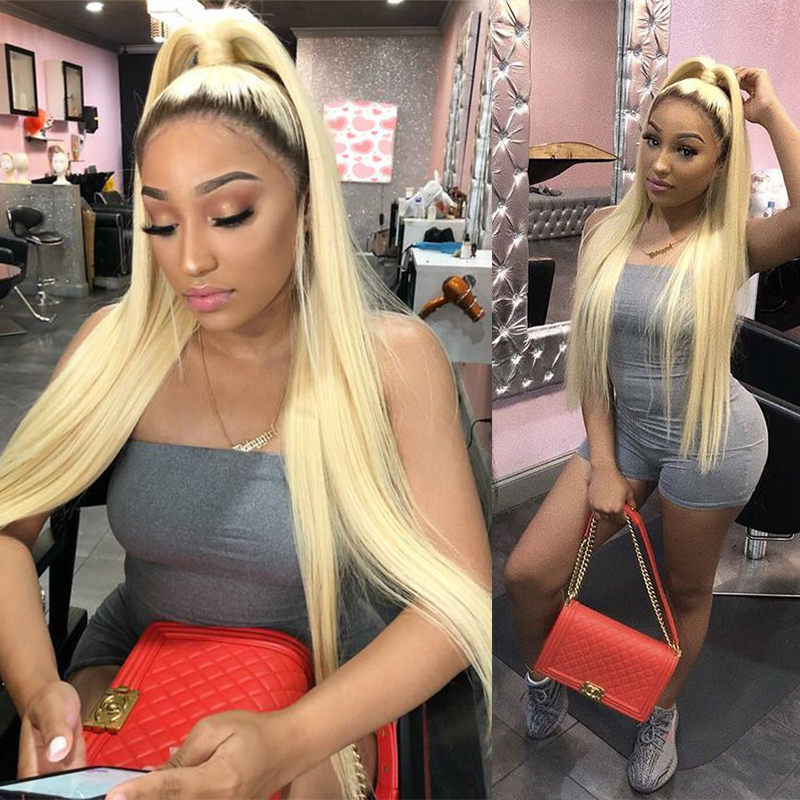 Transparent Lace Ombre 1B 613 Straight India Full Lace Human Hair Long Wigs For Women Pre Plucked Bleached Knots With Baby Hair