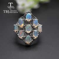 Big colorful Opal women Ring natural Gemstones fine jewelry 925 sterling silver for women anniversary party gift tbj promotion